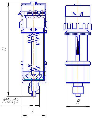 Габаритные и присоединительные размеры датчиков ДЕ-57